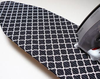 Ironing Board Cover TABLE TOP - black and white geometric shapes with feint grey lines