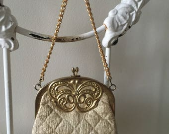vintage gold purse handbag glitter butterfly disco 60s 70s boho hoppie club festival