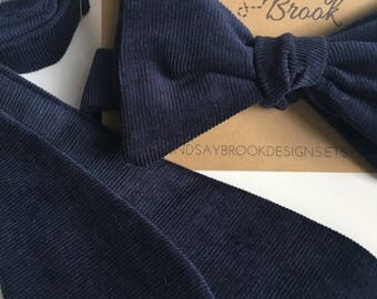 Navy Blue Bow tie - Corduroy Bow tie - Kids bow ties - Blue kids bow ties - Navy bow ties for men - Mens bow ties - Self tie bow ties