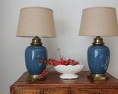 Pair of Wedgewood Blue Ceramic Lamp
