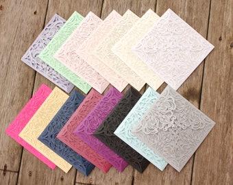 Set of 50, 75, 100 - Laser Cut FOLDER Pocket ONLY -  LAUREN Style Elegant card Shimmer Gold, Silver, Black, Ivory, Purple, Blush, Navy, Teal
