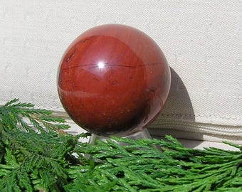 Red Jasper Solid Crystal Gemstone Sphere, 40mm Diameter with Display Stand, Chakra Crystal, Meditation Sphere, Jasper Sphere, Orange Sphere