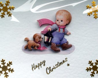 Christmas Card, Happy Christmas Hand Crafted 3D Decoupage Card, Happy Christmas (1793), Layered Card, Xmas Card