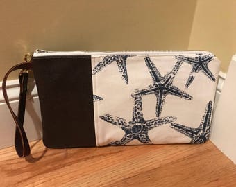 Starfish w/Brown Leather Wristlet