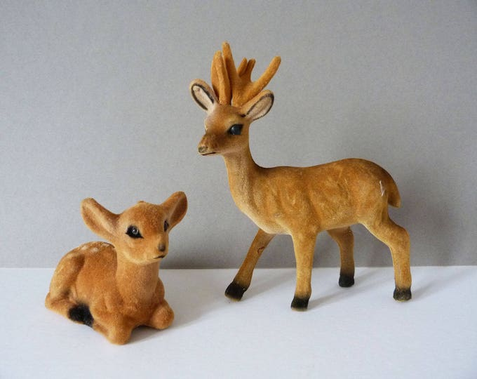 Reserved Vintage Flock Deer Bambi Reindeer figures 1970's