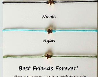 Best friends matching wish bracelets, group matching wish bracelets, adjustable matching wish bracelets, adjustable cord friend bracelets