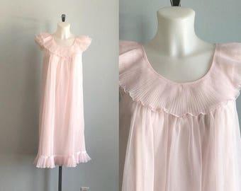 Vintage Pink Chiffon Nightgown, 1960s Chiffon Nightgown, Pink Nightgown, Vintage Nightgown, Crystal Pleats, Nightgown
