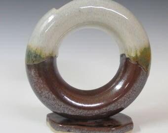 Ikebana vase / wheel thrown / handmade / flower vase / pottery / ring vase / unique vase
