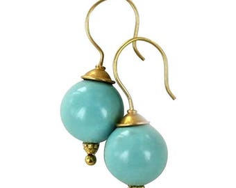 Summer Sale : ) 18k Gold Chinese Turquoise Earrings 13.5mm Round