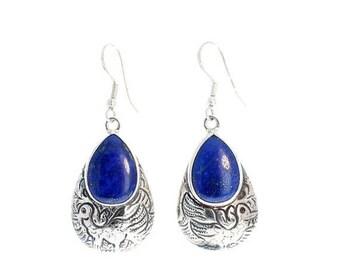 Summer Sale : ) Lapis Sterling Earrings Etched Teardrops