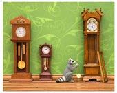 Woodland animal raccoon diorama art print: Clockwork
