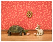Storybook animal art print, turtle and rabbit: The Tortoise and the Hare