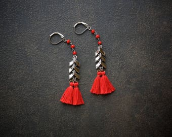 Red Tassel Earring Boho Fringe Silver Chevron Festival Crystal Rosary Chain Bohemian Gypset Shoulder Duster Long Upcycled Repurposed Jewerly