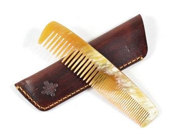 Handmade Double Tooth Horn Comb Brown Vegetable Tan Leather Sleeve Case
