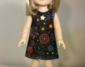 14.5 inch Doll Clothes Colorful Fireworks Print Dress fits American Girl Wellie Wishers Doll Clothes Handmade