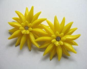 Vintage Soft Plastic & Rhinestone Earrings ~ Yellow Flowers ~ Clip On