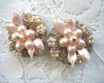 Vintage Fancy Palest Pink and Goldtone Earrings ~ Clip On ~ Rhinestones