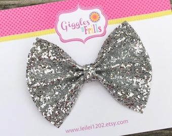 Silver Glitter Hair Bow, Silver Hair Bow, Glitter Bows, Silver Hair Clip, Silver Glitter Bow, Toddler Hair Bow, Girls Silver Bow