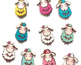 10 wood sheep buttons mixed pack