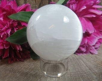 Large Selenite Crystal Ball, Selenite Sphere, White Crystal Ball, Angelic Realm, Spirit Guide Communication, Crystal Orb, Selenite Ball,425g