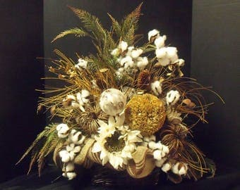 Cotton Ball Fall Floral Arrangement, Fall Centerpiece, Pumpkin Flower Arrangement, Sunflower Arrangement, Burlap, Fall Decorations
