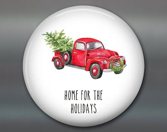 Red Truck Christmas Decoration - farmhouse Christmas decor - decorations for the kitchen - fridge magnet kitchen decor MA-HOL-59