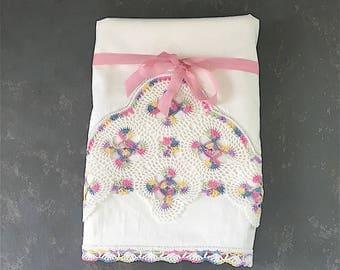 Vintage  Pillowcases Crochet trim, pillowcases pink crocheted trim. white, pastel