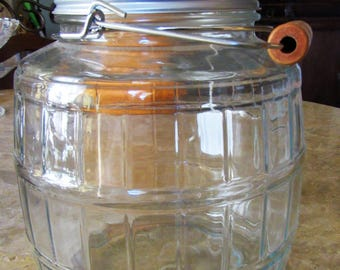 Large Glass Jar, Large Glass Storage Jar with Handle, Huge Jar with Lid, Home and Living, Storage and Organization, Storage, Glass Jar