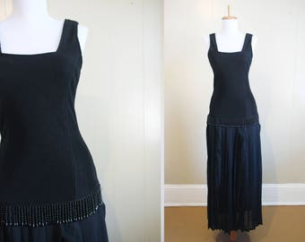 Flapper Dress Halloween Costume Downton 80s does 20s Black Fringe Beaded Small