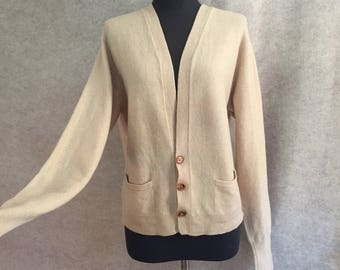 Vintage 60's Beige Cardigan Sweater, Pure CASHMERE Sweater, Camel, Tan, Size Medium to Large, Bust 40, BRAEMAR Made in Scotland