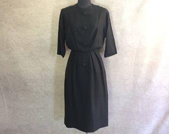 Vintage 50s Black Dress, Black Day Dress, Size Medium to Large, Waist 27, Hourglass, Wiggle Dress, Knee Length, Long Sleeve, Marion McCoy