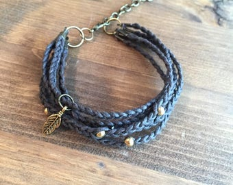 Brown Braided Leather Bracelet with Gold Accents