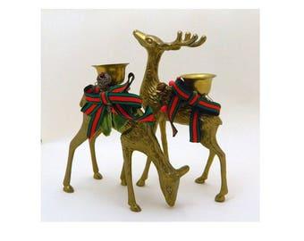 Brass Deer Candlestick Holders