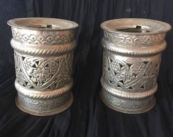 Set of two - Pewter Candle Holders