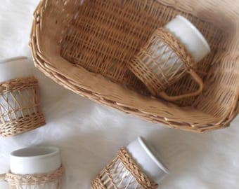 Wicker Cup Holders and Storage Basket, Bar Cart Decor, Modern Bohemian Decor