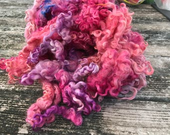 Hand dyed Cotswold locks 7oz spinning fiber or for felting