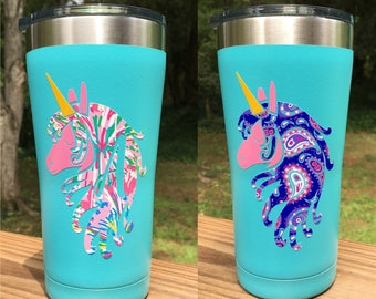 """4"""" Unicorn Lily Pulitzer Style Vinyl Decal with Initial or Name"""
