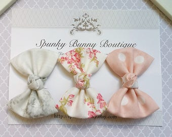3 Cottage Chic Fabric Hair Bow Set, Small Floral Hair Bow, Little Girl Hair Barrette, Children Floral Print Hair Bow, Kid Girl Barrette
