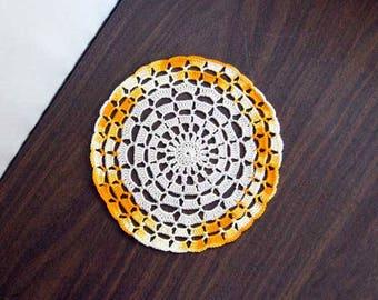 Mandala Crochet Lace Doily, Boho Home Decor, Yellow Orange Table Accessory, Bohemian Decor, Feng Shui Positive Energy, Mandala Decor, New