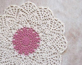 French Country Cottage Crochet Doily, Lace Doily, Dusty Rose Pink, Ecru, Dining Table Decor, New