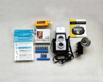 Kodak Brownie Starflex Camera, Starmite Flash, Manual, Vintage 1962, Sylvania Blue Dot Bulbs, Kodak CX127 Film Box, Kodacolor Leaflets