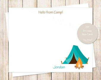 PRINTABLE personalized camping note cards . hello from camp notecards . flat stationery, stationary . blue tent, camp out . You Print