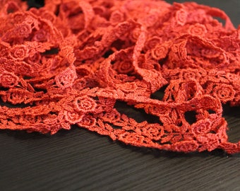 Red rose venise trim hand dyed