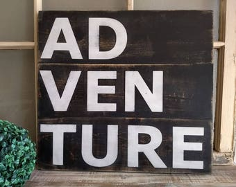 ADVENTURE Plank Wood Sign
