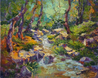 Impressionist oil painting - Meandering Stream Japanese Garden, Landscape Knife painting, Tree, water and Rocks Oil painting, 10x12""