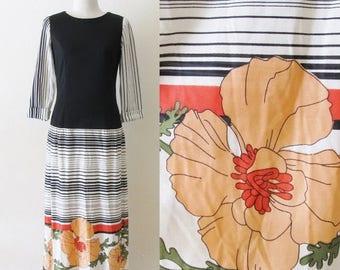40% OFF SALE Vintage 1960's Mod Maxi Dress / 60's 70's Black Wild Floral Print Retro Dress / Jeanne Durrell / Drop Waist Classy Dress / Size