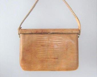 50% OFF SALE Vintage 1950's Faux Alligator Crocodile Handbag Purse / Brown Lizard Skin Moc Croc Leather Antique Bag