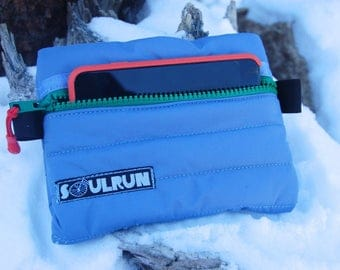 Puffy Phone Pouch - Light Blue with Green Zipper