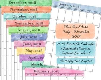 18 Month Calendar, 2018 Plus July to December 2017, Printable School Calendar, Instant Download, Letter Size, JPG 300 dpi