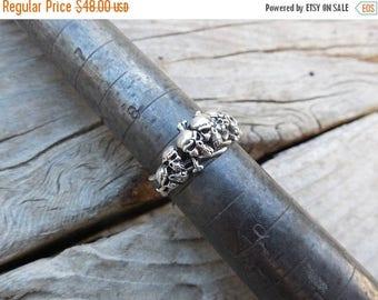 ON SALE Seven skull ring handmade in sterling silver